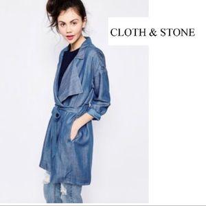 Cloth & Stone Chambray Trench Coat Jacket